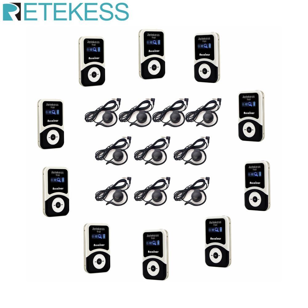 Retekess 10pcs receptor t131 + 10pcs fone de ouvido para o sistema guia turístico sem fio guia tour guiando interpretação tradução simultânea