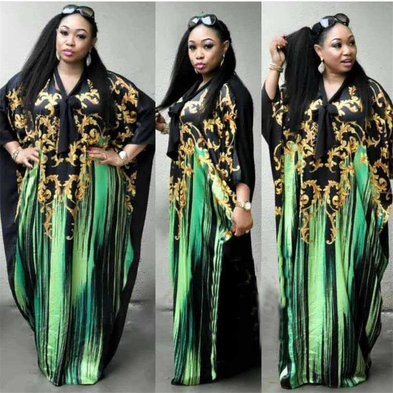 Vestido largo de gasa de talla grande Sexy de manga de murciélago de Moda Africana con Scaf para mujer