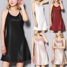Sexy Womens Lingerie Sleepwear Nightwear Plus Size Black  Satin Sleeveless Nightdress Underwear 2019 Robe Gown Femme 9.30