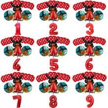 Coelho festa decoração coelho vermelho número 0-9 folha de alumínio ballon definir decorações de festa de aniversário do bebê atacado látex balões