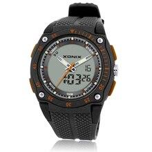 חדש מותג ספורט הכרונוגרף גברים של יד שעונים הדיגיטלי קוורץ תנועה כפולה עמיד למים 100M צלילה רצועת השעון זכרים שעון DH