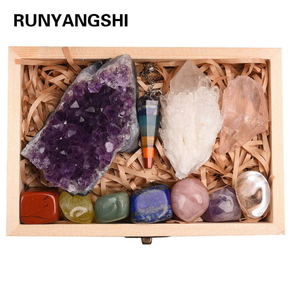 11pc Natural Amethyst Cluster Quartz Crystal Mineral Specimen Healing Stones Rough Ore Seven Chakras Therapy Stone Wooden Gift