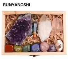 Pierres minérales de guérison en cristal d'améthyste naturelle, amas de Quartz, minéraux, minéraux rugueux, sept chakras, cadeau en bois, 11 pièces