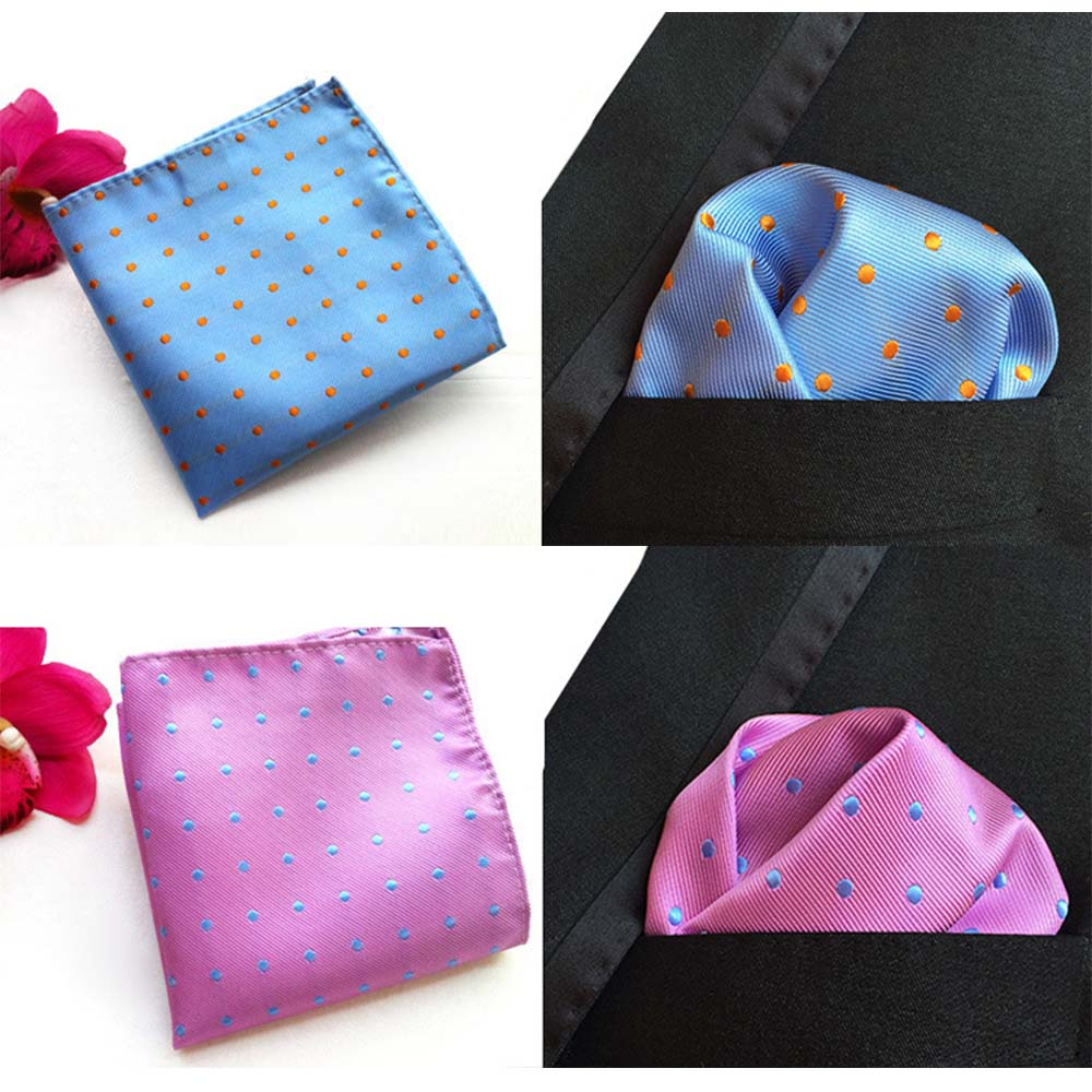 Men Pocket Squares Dot Pattern Blue Handkerchief Fashion Hanky For Men Business Suit Accessories 25cm*25cm