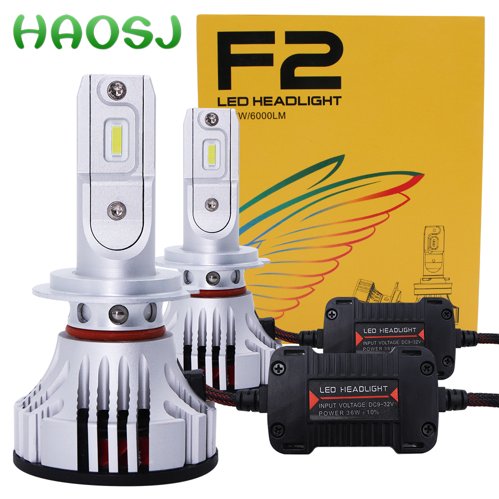 HAOSJ F2 Car LED Headlight H7 LED H4 H11 LED Car Bulb 72W 12000LM 6000k HB4 LED H3 H1 Canbus