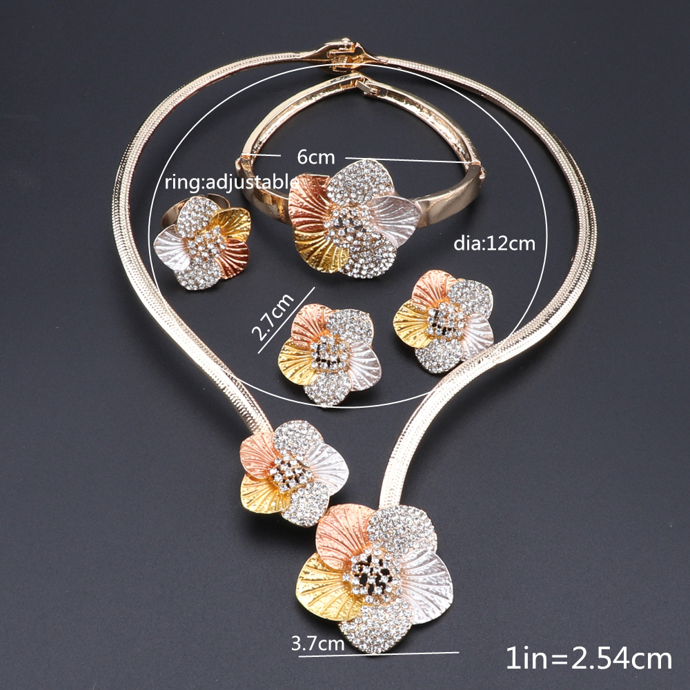 Image 5 - Nigerian Wedding Women Accessories Jewelry Set Fashion Dubai Gold Color Flower Shaped Jewelry Set Statement Bridal Jewelry SetBridal Jewelry Sets   -