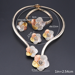 Image 5 - Nigerian Wedding Women Accessories Jewelry Set Fashion Dubai Gold Color Flower Shaped Jewelry Set Statement Bridal Jewelry Set
