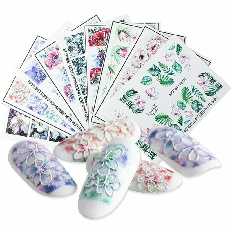 Hot 1PC 5D Acrylic Engraved Flower Nail Sticker Embossed Lace Cute Cat Water Decals Empaistic Slide