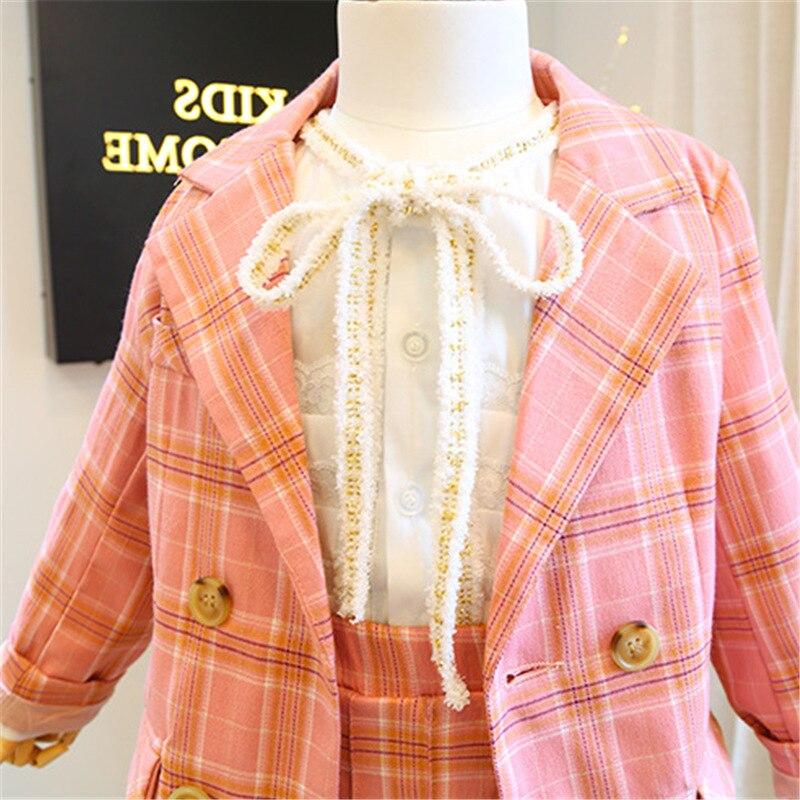 2019 Autumn New Arrival Girls Fashion Pink Suit Kids 2 Pieces Sets Coat+skirt Children Clothes  Kids Clothes 3