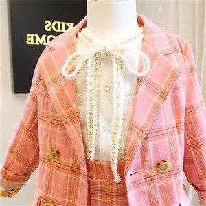 Image 3 - 2019 Autumn New Arrival Girls Fashion Pink Suit Kids 2 Pieces Sets Coat+skirt Children Clothes  Kids Clothes