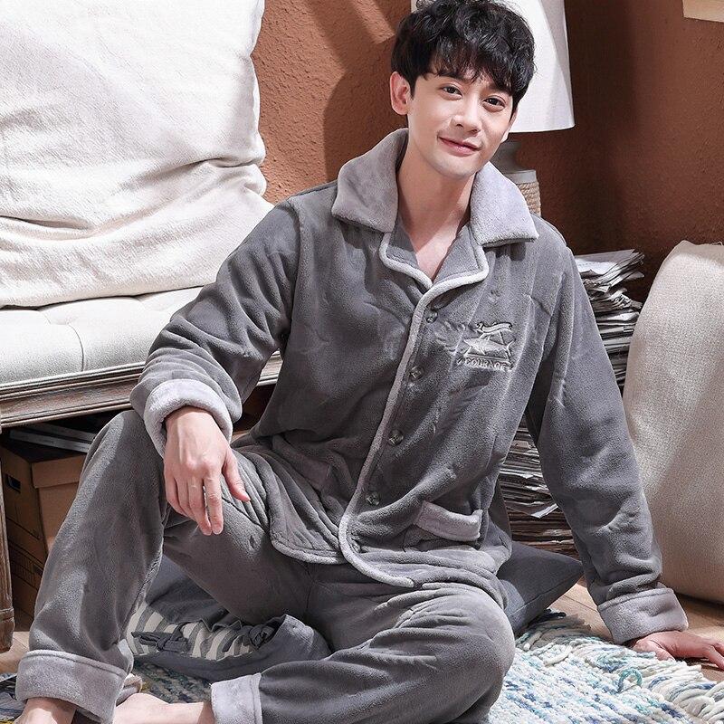Plus Size M-4XL Flannel Pajama Sets For Men Winter Thick Keep Warm Pajamas Long Sleeve Pyjama Male Homewear Pijamas Hombre