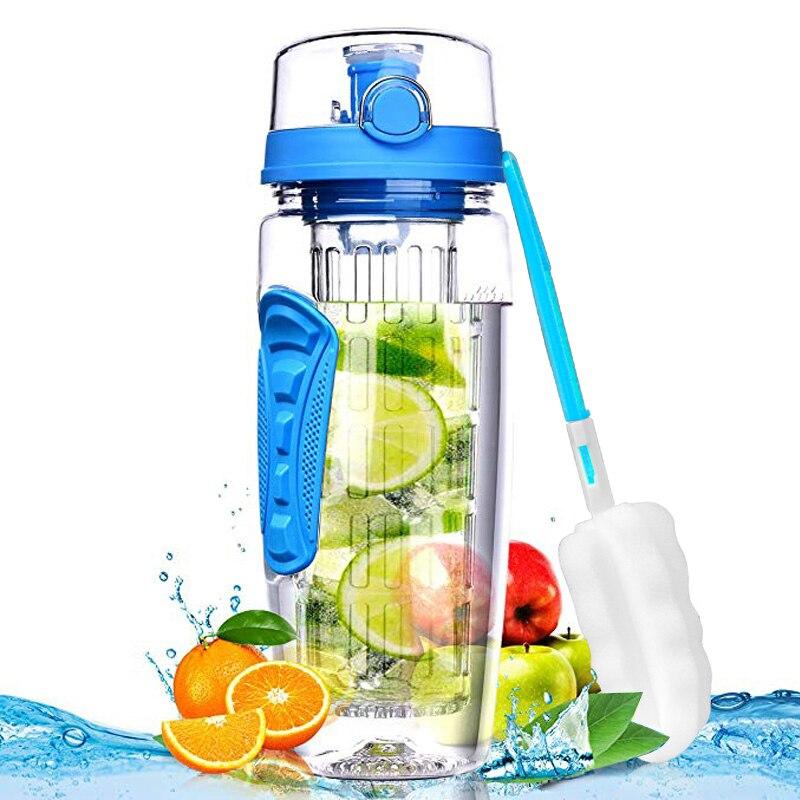 Fruit Infuser water bottle 1000ml bpa free water+bottles gym bottle reusable Flip Top Lid drinkware travel gift items for adults-in Water Bottles from Home & Garden on AliExpress