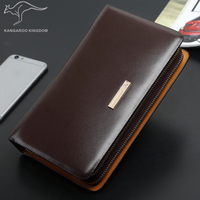 Kangaroo Kingdom Luxury Men Clutch Bags Split Leather Handbag Double Zipper Business Mens Hand Bag Brand