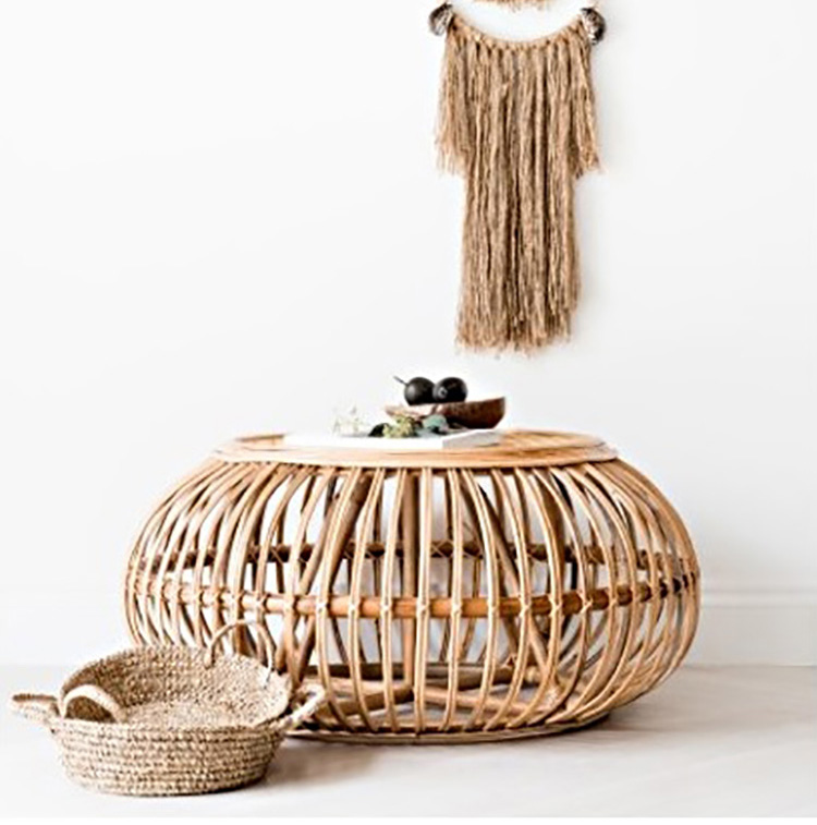 rattan coffee table hand woven oval round side tables furniture