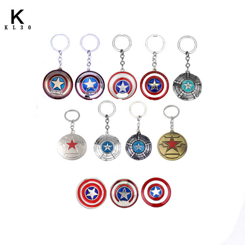 Movie Avengers Infinity War Captain America Shield Logo Keychain Action Figure Alloy for men women car Keyring accessories