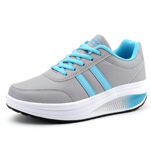 Women Sport Shoes Thick Sole Shoes Height Increasing Ladies Platform Toning Sneakers Wedge Sneakers Rocking Jumping Shoes