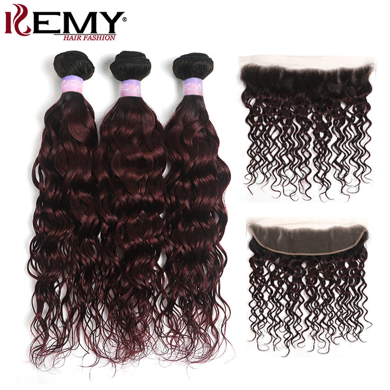 Brazilian Ombre Water Wave Hair Bundles With Frontal 13x4 KEMY HAIR T1B/99J Human Hair Weave Bundles With Lace Closure Non-Remy