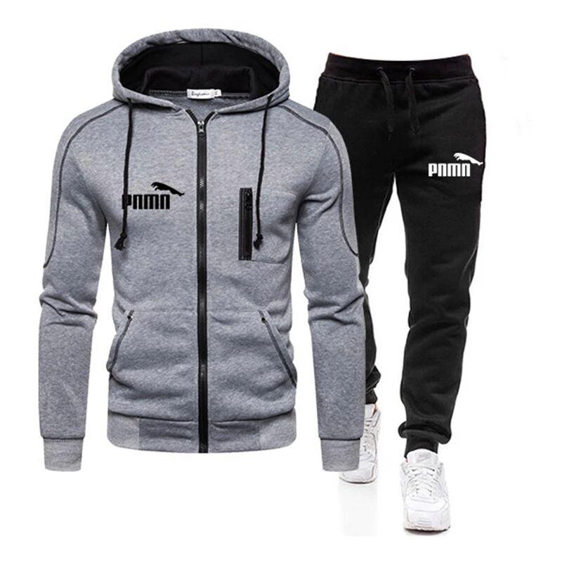 2020 Spring and Autumn Brand Men's 2 Large Size 3XL Sportswear Tops Zipper Cap + Outdoor Sports Pants Sportswear Set