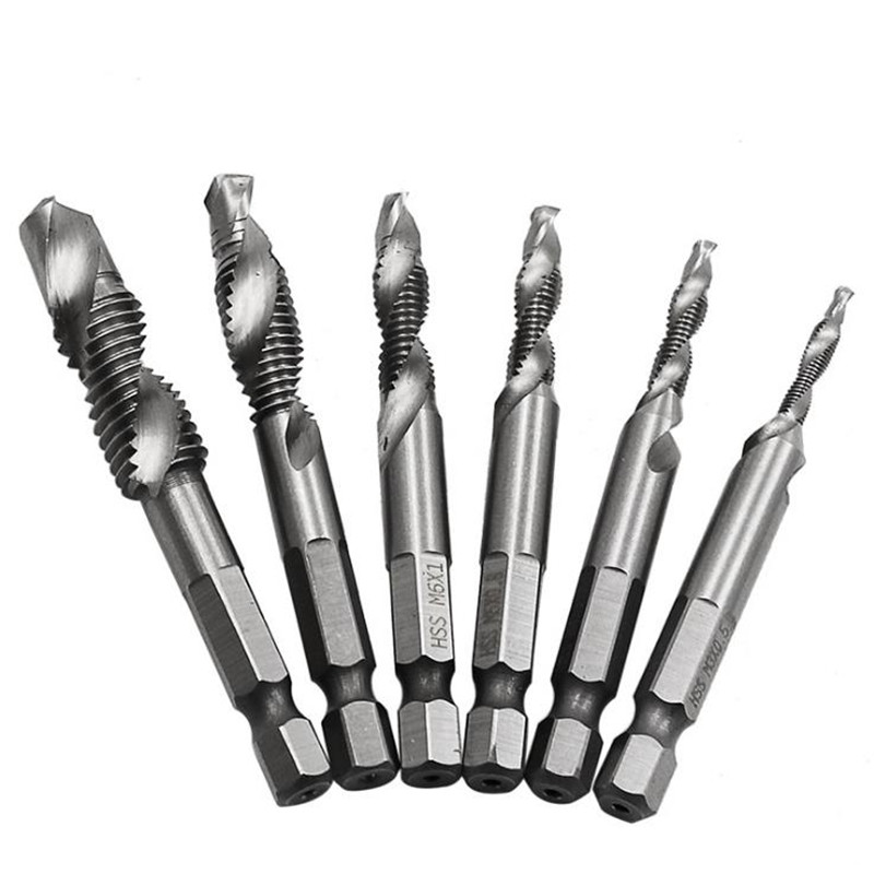 6pcs/set 1/4'' Hex HSS High Speed Steel Thread Spiral Screw M3 M4 M5 M6 M8 M10 Metric Composite Tap Drill Bit Tap