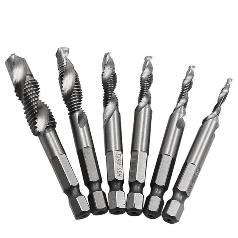 6pcs/set 1/4'' Hex HSS High Speed Steel Thread Spiral Screw M3 M4 M5 M6 M8 M10 Metric Composite Tap Drill Bit Tap