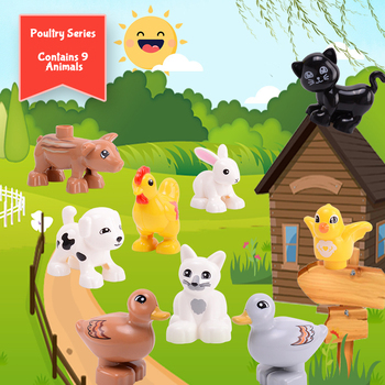 Toys Duploed Animals Farm Series Big Building Blocks Compatibel With Duploe series toys for childrens kids party gift