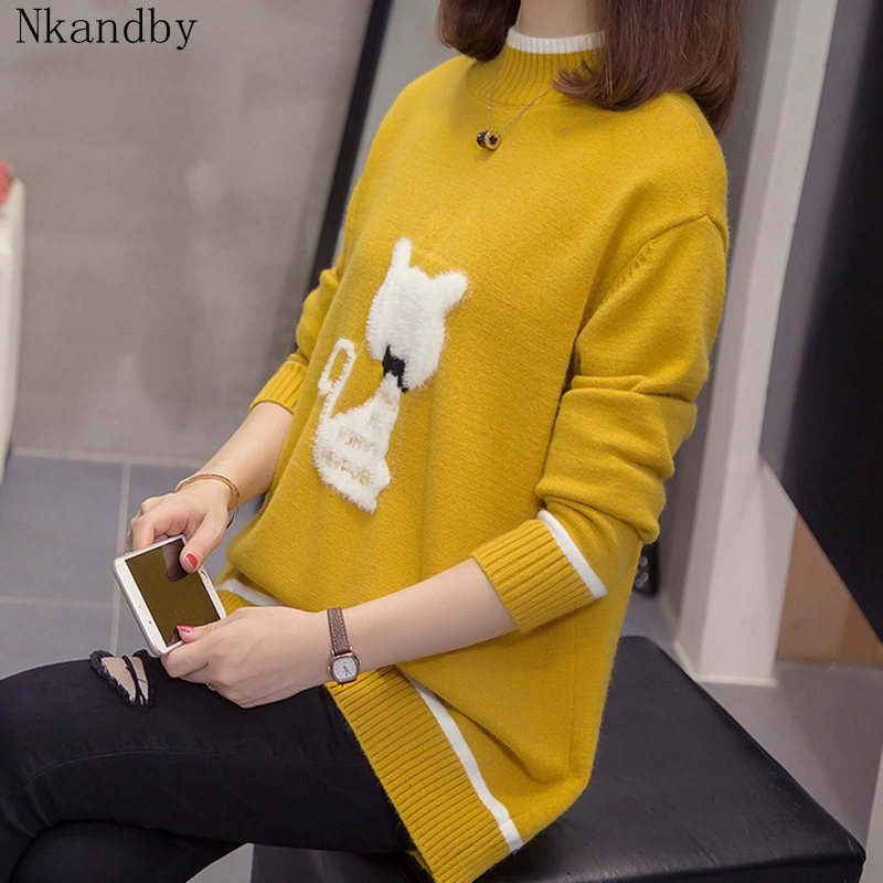 Plus Size Cashmere Cat Turtleneck Sweater Autumn Winter Korean Fashion Loose Cute Knitwear Oversize Thick Lady Pullovers Jumper