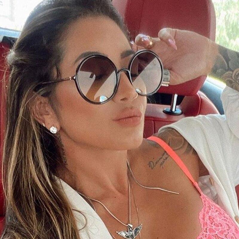 2020 New Luxury Brand Gradient Eyewear Female Fashion Sun Glasses Vintage Black Leoaprd Round Sunglasses For Women Ins Hot Style