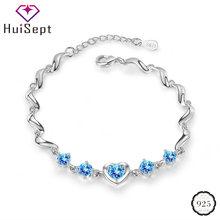 Huisept модный серебряный 925 женский браслет в форме сердца