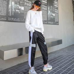 Винтажный 2019 корейский модный Женский комплект из двух предметов, Свободный Повседневный комплект из 2 предметов с высокой талией, в