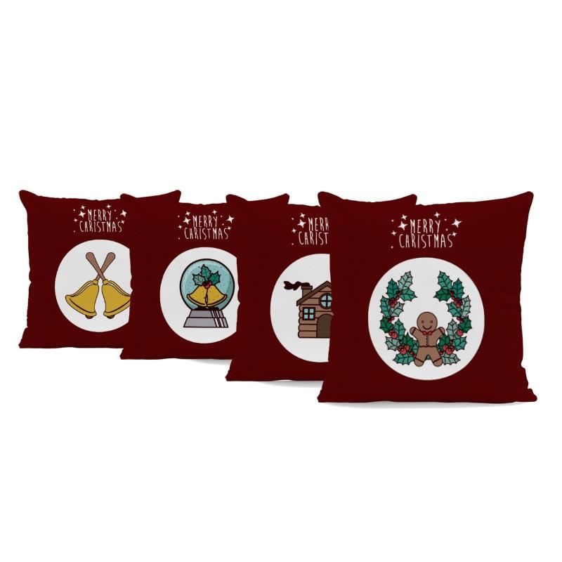 >Cute Christmas Style Pillowcase <font><b>Farmhouse</b></font> Socks Gingerbread Man Bell <font><b>Gift</b></font> Box Sofa Decoration Cushion Set Peach Skin <font><b>Pillow</b></font>