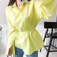 CINESSD The Sexy Streetwear Blouse Render Tops Women Autumn Rayon Yellow Notche Long Flare Sleeve Lace Tunic Joker Shirts Top