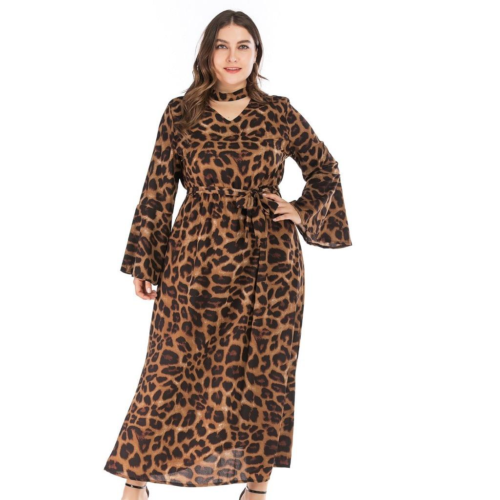 Dress 2019Top Women Plus Size Leopard Print Ladies Holiday Long Sleeve Fashion