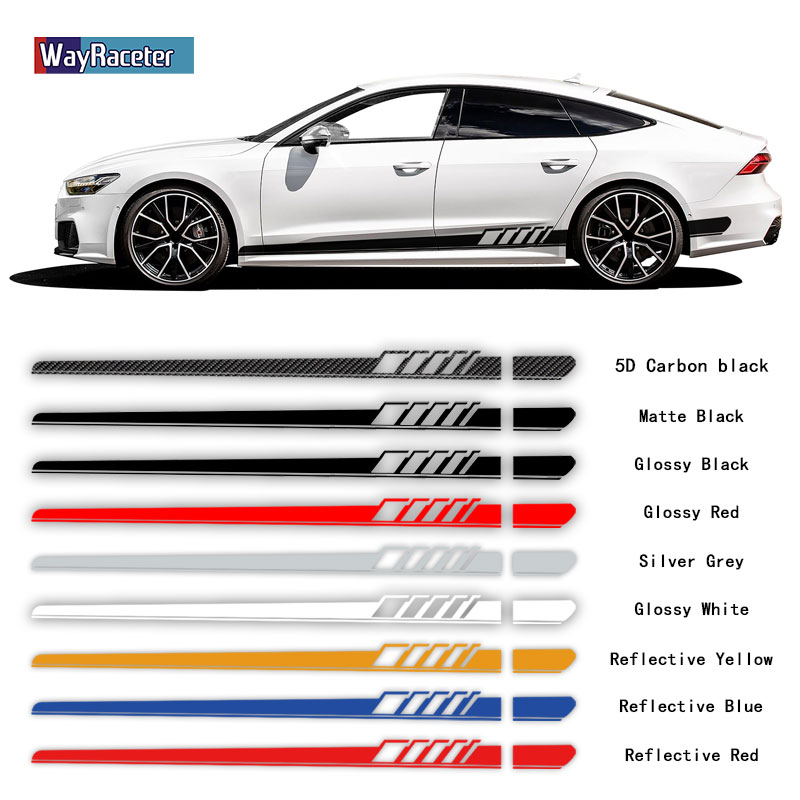 2 Pcs Racing Sport Car Door Side Stripes Skirt Stickers Vinyl Decal For Audi A3 A4 A5 A6 A7 Q2 Q3 Q5 RS3 RS4 RS5 TT Accessories