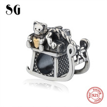 SG new arrival lovely bear Beads Sterling Silver 925 oxidation charms fit Authentic pandora Charm Bracelet diy Fashion Jewelry
