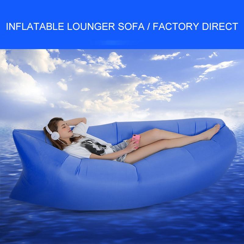 Foldable Inflatable Lazy Bag Air Sofa Banana Nylon Lay Bag Camping Lazy Sofa Bed Pad Portable Beach Bed Mat Air Lounge Hot Sale