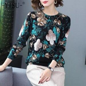 Image 1 - YISU Pullover Frauen O hals langarm warm Halten Pullover 2019 Herbst Winter Neue mode blume muster Gedruckt pullover Frauen