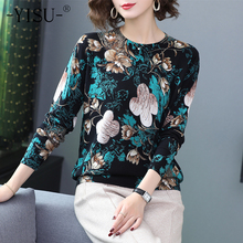 YISU Sweaters Women O neck Long sleeve Keep warm Pullover 2019 Autumn Winter New fashion flower pattern Printed sweater Women