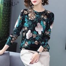 Yisu 스웨터 여성 오 넥 긴 소매 계속 따뜻한 풀 오버 2019 가을 겨울 새로운 패션 꽃 패턴 인쇄 스웨터 여성