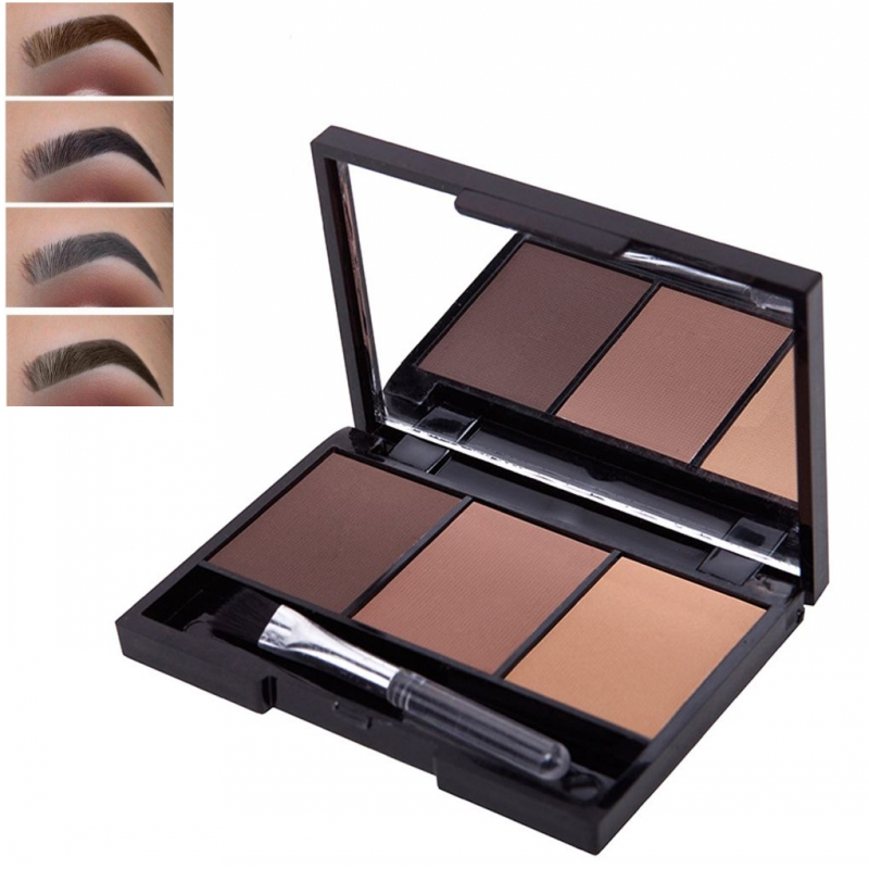 3 Colors Long Lasting Eyebrow Powder Shadow Palette With Soft Brush And Mirror Brilliant Eye Makeup