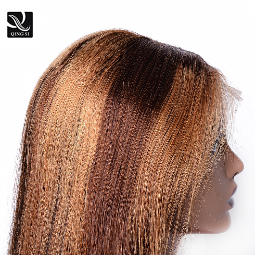 13X4 Frontal Lace  Wigs  Piano 4/27 Color Straight Bob Wig Pre Plucked Ombre Lace Frontal Wigs With Baby HaIr 3