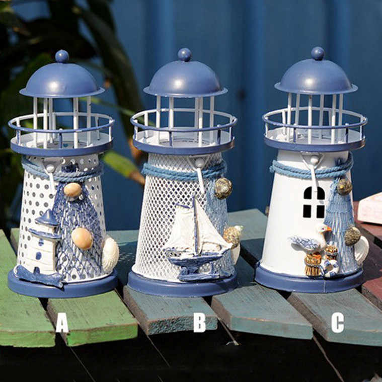 Candle Holders Mediterranean Lighthouse Iron Candle Candlestick Blue White Home Table Decor Candelabros Decorativos De Velas