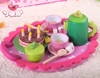 Free delivery tea set combination of wooden toys, with lovely small square table, fancy simulation play house, girls toys