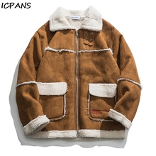 ICPANS a prueba de viento cálido grueso Multi-Bolsillo chaqueta de invierno hombres Vintage pelo de cordero para hombre abrigo 2019 ropa de calle japonesa prendas de vestir