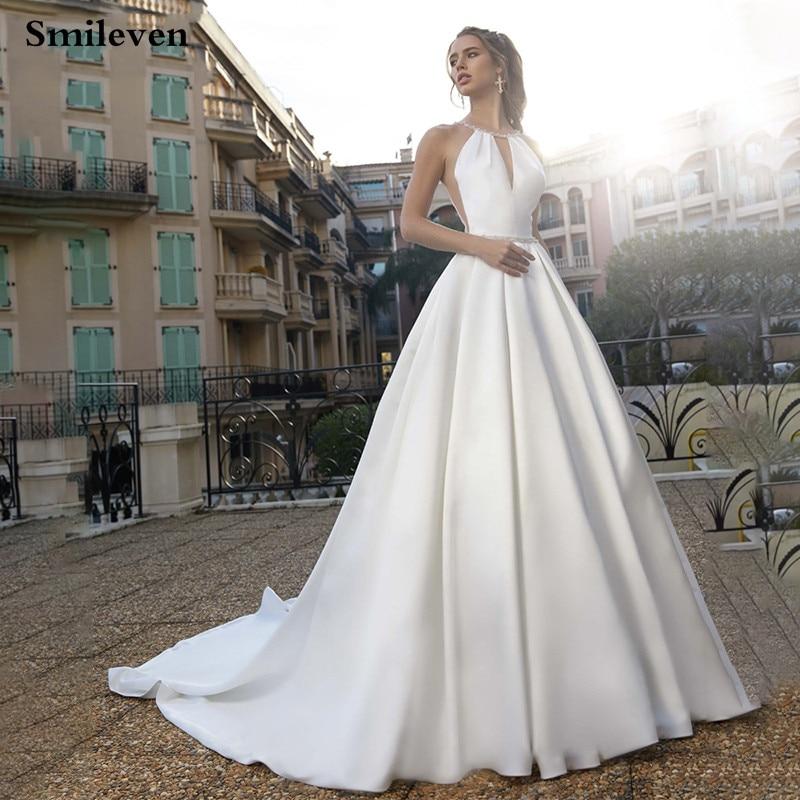 Smileven Princess Wedding Dress A Line Boho Bridal Gowns Halter Neck Vestido De Noiva Backless Wedding Gowns