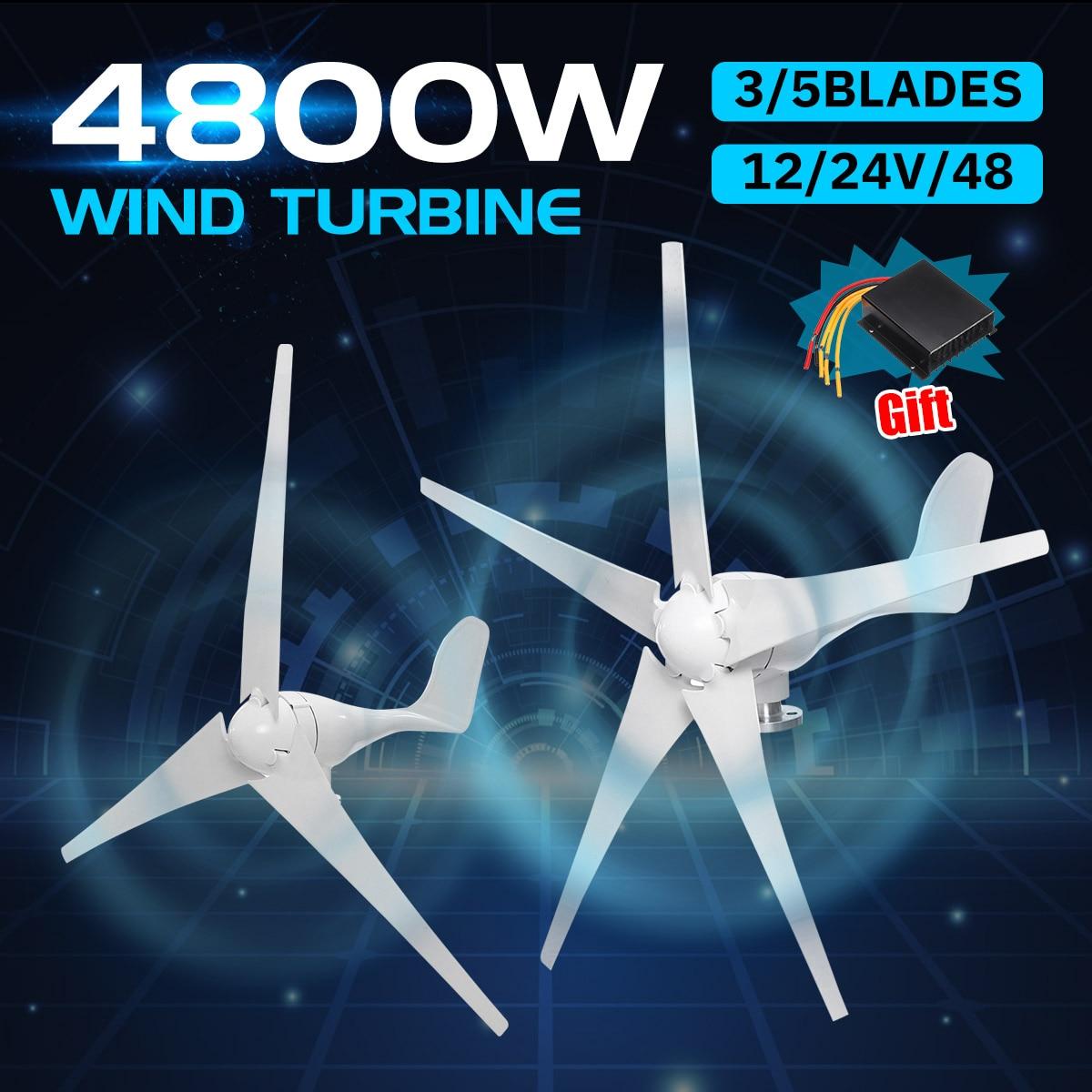 4800 w 12/24/48 v gerador de turbinas eólicas 3/5 lâminas de vento opção com controlador de carga à prova dwaterproof água apto para casa ou acampamento
