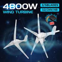 4800W 12/24/48V générateur de Turbines éoliennes 3/5 Option de pales éoliennes avec contrôleur de Charge étanche adapté à la maison ou au Camping