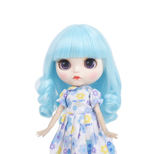 High temperature Blyth doll wigs  fiber Air bangs Short Blue hair suitable for Blyth doll accessories doll wigs 25cm 9-10 inch цена 2017