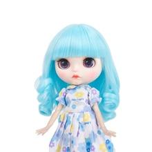 High temperature Blyth doll wigs  fiber Air bangs Short Blue hair suitable for accessories 25cm 9-10 inch