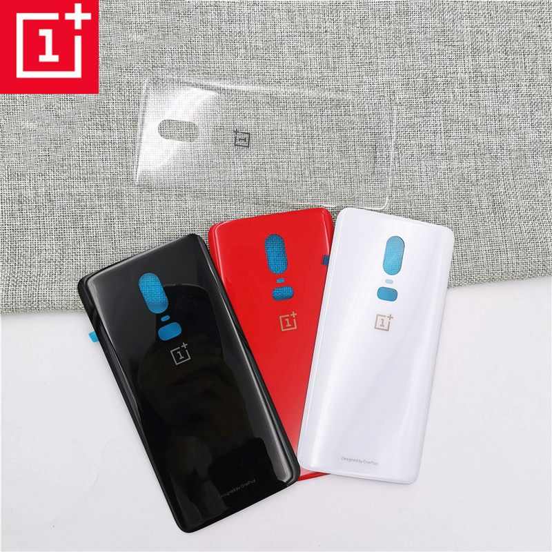 New <font><b>ONEPLUS</b></font> <font><b>6</b></font> <font><b>3D</b></font> Glass Rear Housing Cover Replacement Back Door Battery <font><b>Case</b></font> For <font><b>Oneplus</b></font> <font><b>6</b></font> six + Camera Lens <font><b>6</b></font>.28 inch with logo image