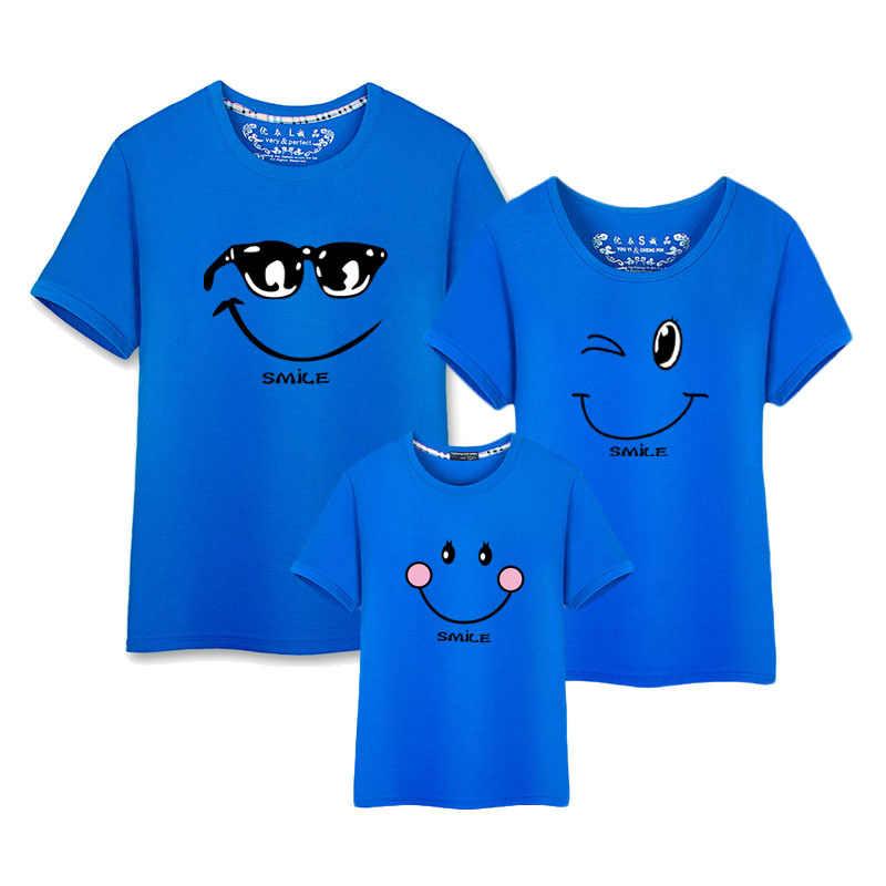 Sorriso tshirt novo nascido roupas do bebê menino verão coreano moda conjuntos de roupas combinando casal família t shirt filho mãe pai